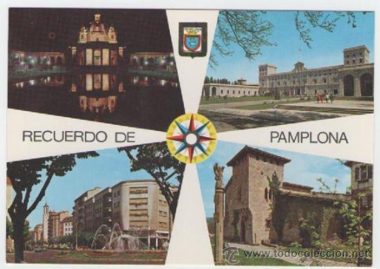 PAMPLONA - MONUMENTO A LOS CAIDOS.UNIVERSIDAD.CABALLO BLANCO.GENERAL - EDICIÓN ESCUDO ORO - POSTAL (Postales - España - Navarra Moderna (desde 1.940))