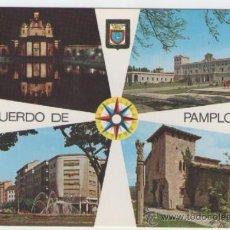 Postales: PAMPLONA - MONUMENTO A LOS CAIDOS.UNIVERSIDAD.CABALLO BLANCO.GENERAL - EDICIÓN ESCUDO ORO - POSTAL. Lote 30500537
