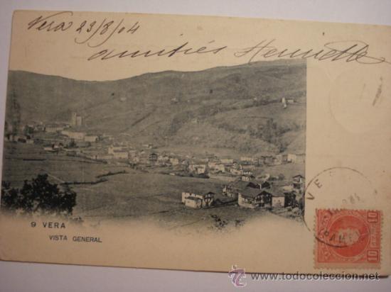 8 VERA NAVARRA RARA POSTAL AÑOS 1899 REVERSO SIN DIVIDIR - CIRCULADA EN 1904 (Postales - España - Navarra Antigua (hasta 1.939))