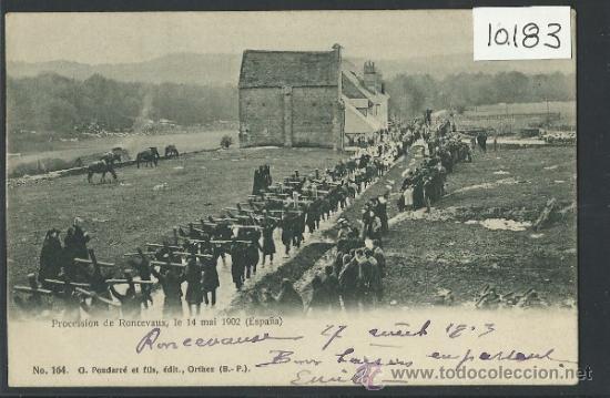RONCESVALLES - PROCESION 14 DE MAYO DE 1902 - CIRCULADA - VER REVERSO - (10.183) (Postales - España - Navarra Antigua (hasta 1.939))