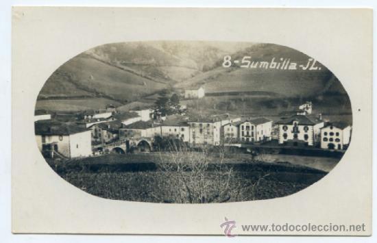 SUMBILLA. J.L. 8. VISTA GENERAL CON EL PUENTE A LA IZQUIERDA. POSTAL FOTOGRÁFICA, SIN CIRCULAR (Postales - España - Navarra Antigua (hasta 1.939))