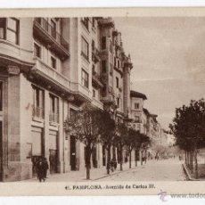 Postales: PAMPLONA. AVENIDA DE CARLOS III.. Lote 40164407