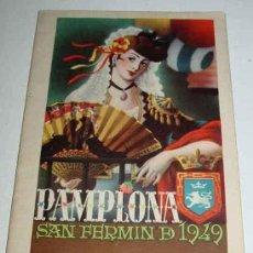 Postales: ANTIGUO PROGRAMA DE FESTEJOS DE SAN FERMIN 1949 - PAMPLONA - ENCIERROS - ENCIERRO - MIDE 20,5 X 12 C. Lote 43015773