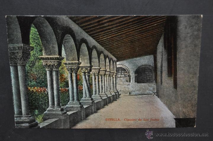 ANTIGUA POSTAL DE ESTELLA. NAVARRA. CLAUSTRO DE SAN PEDRO. SIN CIRCULAR (Postales - España - Navarra Antigua (hasta 1.939))