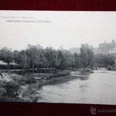 Postales: ANTIGUA POSTAL DE PAMPLONA. NAVARRA. CATEDRAL Y RIO ARGA. FOTPIA. HAUSER Y MENET. SIN CIRCULAR. Lote 45236729