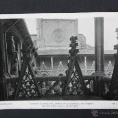 Postales: ANTIGUA FOTO POSTAL DE PAMPLONA. NAVARRA. CATEDRAL, CLAUSTRO ALTO. FOT. L. ROISIN. CIRCULADA. Lote 45398950