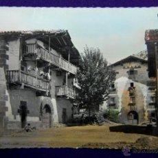 Postales: POSTAL DE LECUMBERRI (NAVARRA). Nº3 CASONAS TIPICAS DEL PAIS. COLOREADA DE EPOCA. AÑOS 50. Lote 47046999