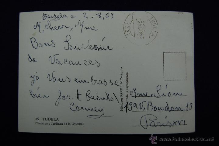 Postales: POSTAL DE TUDELA (NAVARRA). Nº35 CLAUSTROS Y JARDINES DE LA CATEDRAL. ED.PARIS (ZARAGOZA). AÑOS 50. - Foto 2 - 47126006