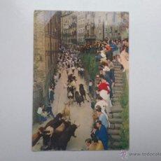 Postales: PAMPLONA ENCIERRO SAN FERMIN CUESTA SANTO DOMINGO POSTAL AÑOS '60 NAVARRA. Lote 55051703