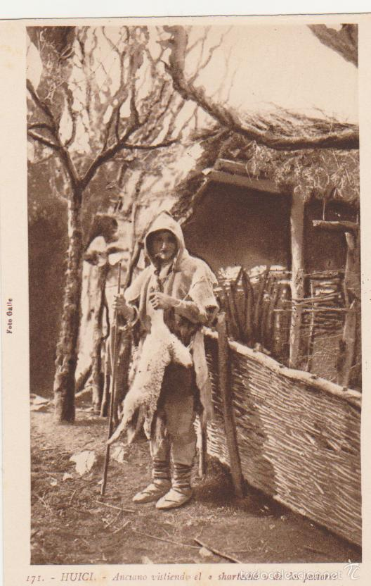 HUICI.- ANCIANO VISTIENDO EL SHARTESHÁ DE LOS PASTORES. L. ROISIN. (Postales - España - Navarra Antigua (hasta 1.939))