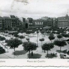 Postales: PAMPLONA-PLAZA DEL CASTILLO-COCHES-1945-RARA. Lote 66975686
