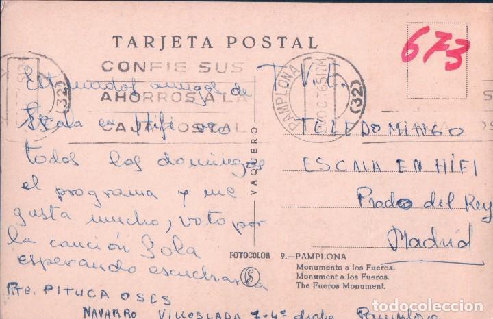 Postales: postal PAMPLONA - MONUMENTO A LOS FUEROS - VAQUERO 9 - ESCALA EN HIFI - T.V.E. - Foto 2 - 73532551