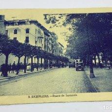 Postales: ANTIGUA POSTAL DE PAMPLONA - PASEO DE SARASATE - NO CIRCULADA . Lote 77319645
