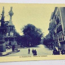 Postales: ANTIGUA POSTAL DE PAMPLONA - PASEO DE SARASATE - NO CIRCULADA . Lote 77320201