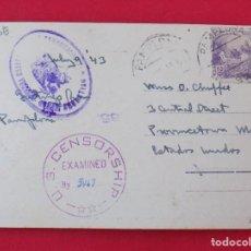 Postales: POSTAL PAMPLONA, RIO ARGA - A ESTADOS UNIDOS, CENSURA SAN SEBASTIAN Y CENSORSHIP U.S ..R- 6838. Lote 94486638