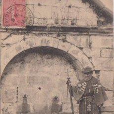 Postales: RONCESVALLES (NAVARRA) - PEREGRINO ESPAÑOL DELANTE DE LA FUENTE. Lote 97095147