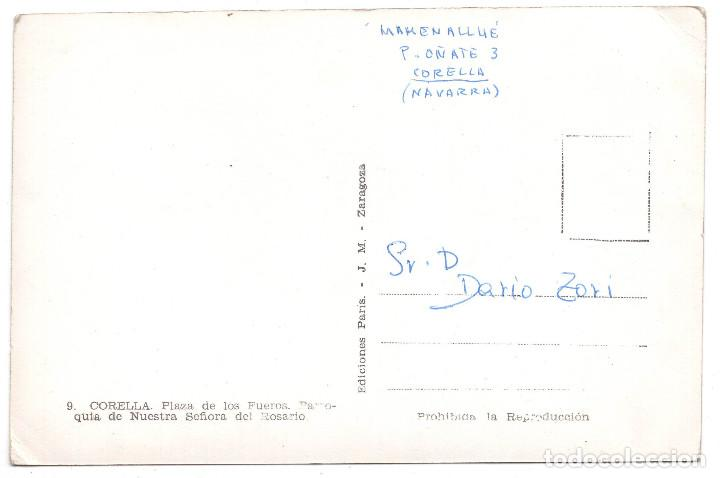 Postales: CORELLA.(PAMPLONA).- PLAZA DE LOS FUEROS. PARROQUIA NUESTRA SEÑORA DEL ROSARIO.ED.PARIS.J.M.ZARAGOZA - Foto 2 - 103057231