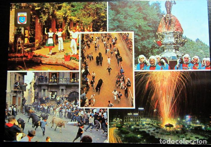 POSTAL POST CARD CARTE POSTALE PAMPLONA NAVARRA FIESTAS SAN FERMIN ENCIERRO IRUÑA ESCUDO DE ORO (Postales - España - Navarra Moderna (desde 1.940))