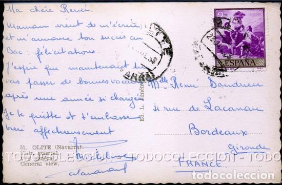Postales: POSTAL OLITE NAVARRA VISTA GENERAL . L. JIMENEZ . CA AÑO 1950 - Foto 2 - 105996623