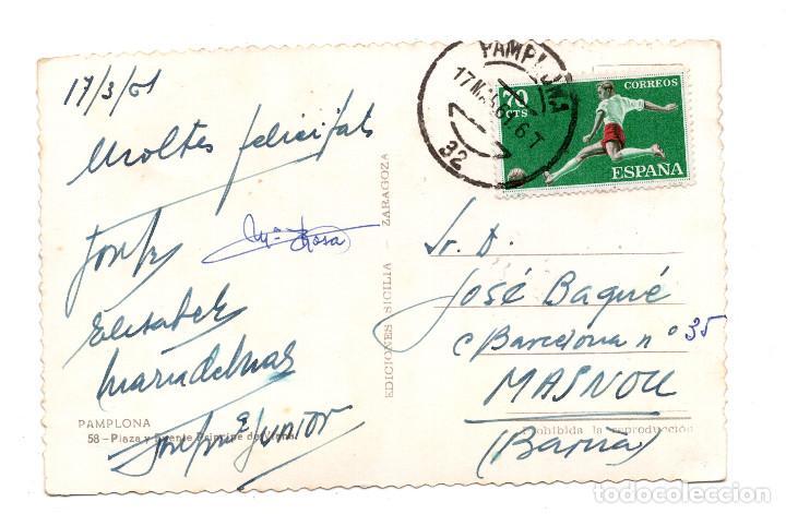 Postales: PAMPLONA.- PAMPLONA. PLAZA Y FUENTE PRINCIPE DE VIANA EDICIONES SICILIA - Foto 2 - 107355191