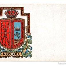 Postales: POSTAL CON EL ESCUDO DE LA PROVINCIA DE NAVARRA (LIT.HERMENEGILDO MIRALLES NUM. 21) . Lote 114842715