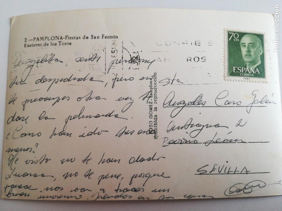 Postales: Pamplona, Fiestas de San Fermin. Encierro de toros. Finales 50 o principios 60. - Foto 3 - 117107895