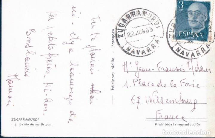 Postales: POSTAL ZUGARRAMURDI - GRUTA DE LAS BRUJAS - 2 SILICIA - CIRCULADA - MUY RARA - NAVARRA - Foto 2 - 127581911