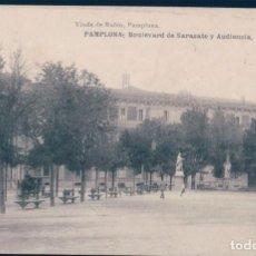 Postales: POSTAL PAMPLONA - BOULEVARD DE SARASATE Y AUDIENCIA - VIUDA DE RUBIO. Lote 131404874