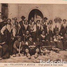 Postales: ANTIGUA POSTAL VILLANUEVA DE AEZCOA TRAJES TIPICOS NAVARRA ROISIN CC01196. Lote 143974789
