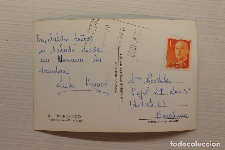 Postales: POSTAL CINTRUENIGO, PUENTE SOBRE EL RÍO ALHAMA, ED. MONTAÑÉS - Foto 2 - 145268962