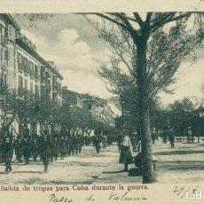 Postales: PAMPLONA. SALIDA DE TROPAS PARA CUBA DURANTE LA GUERRA DE 1898. CIRCULADA EN 1904. MUY RARA.. Lote 146347018