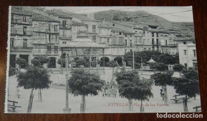 ESTELLA (NAVARRA) PLAZA DE LOS FUEROS, L. PEREZ EDITOR, SIN CIRCULAR (Postales - España - Navarra Moderna (desde 1.940))
