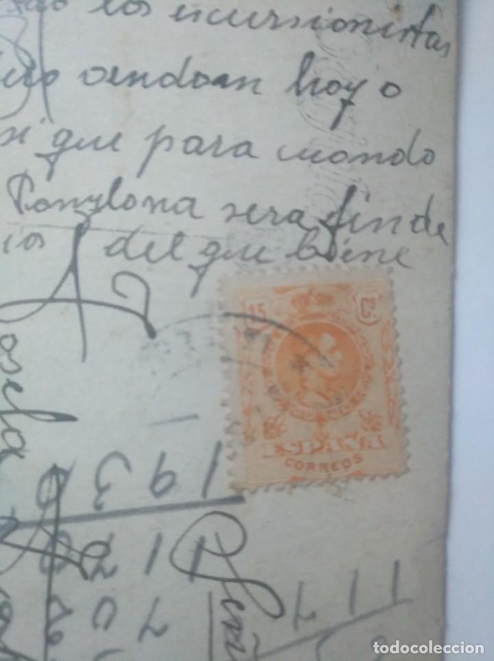 Postales: Postal Encierro San Fermín Pamplona Década de 1920 sello Alfonso XIII - Foto 3 - 152521230