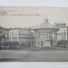 Postales: POSTAL - PAMPLONA, PLAZA DE LA CONSTITUCIÓN Y HOTEL DE LA PERLA - VIUDA DE RUBIO - CIRCULADA - 1912. Lote 155727430