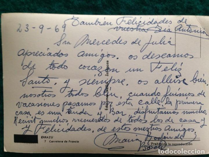 Postales: ERRAZU. 7 CARRETERA DE FRANCIA. Ediciones Sicilia. Original, brillo, coloreada. ESCRITA 1969 - Foto 3 - 165880438