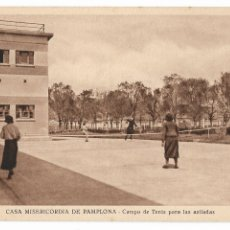 Postales: PAMPLONA - CASA DE MISERICORDIA - CAMPO DE TENIS. Lote 175710092