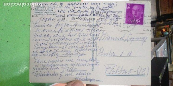 Postales: Postal Pamplona Monumento a los Fueros escrita y sellada - Foto 2 - 178817391