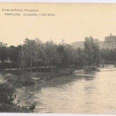 Postales: POSTAL PAMPLONA CATEDRAL Y RÍO ARGA . Lote 179169927