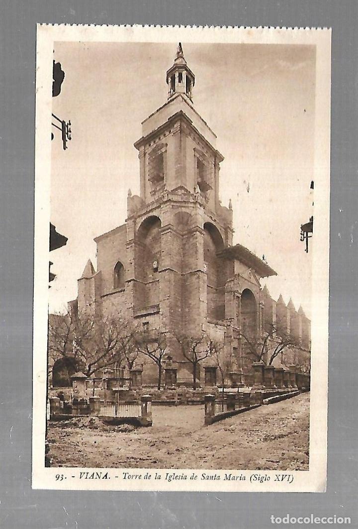 TARJETA POSTAL. VIANA. NAVARRA. TORRE DE LA IGLESIA DE SANTA MARIA. 93. L.ROISIN (Postales - España - Navarra Antigua (hasta 1.939))