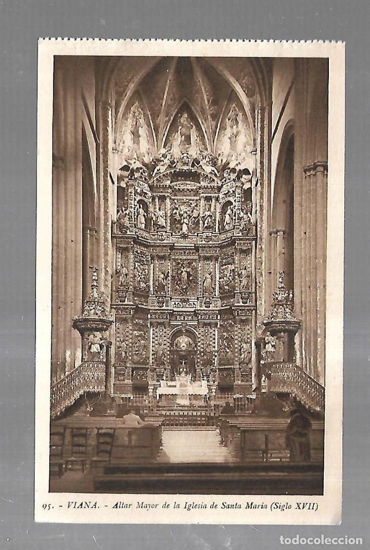 TARJETA POSTAL. VIANA. NAVARRA. ALTAR MAYOR IGLESIA DE SANTA MARIA. 95. L.ROISIN (Postales - España - Navarra Antigua (hasta 1.939))