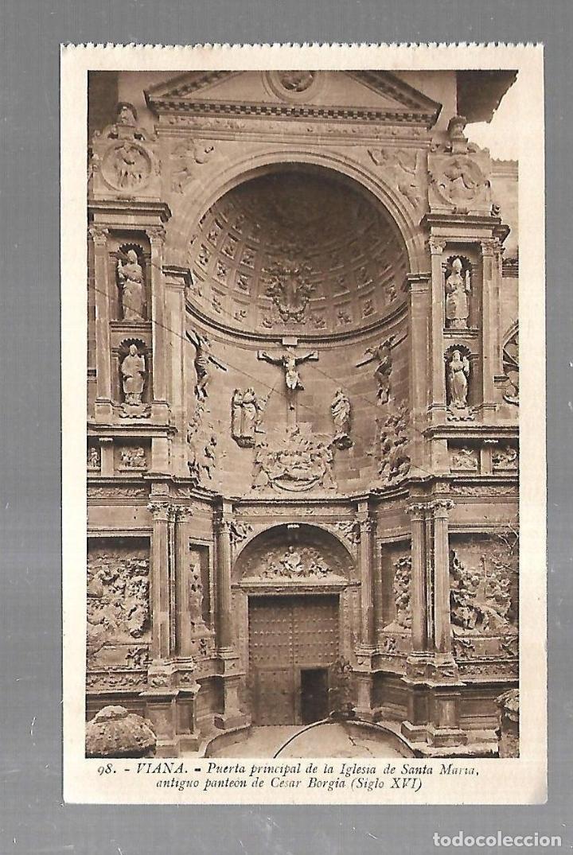 TARJETA POSTAL. VIANA. NAVARRA. PUERTA PRINCIPAL DE IGLESIA DE SANTA MARTA. 98. L.ROISIN (Postales - España - Navarra Antigua (hasta 1.939))