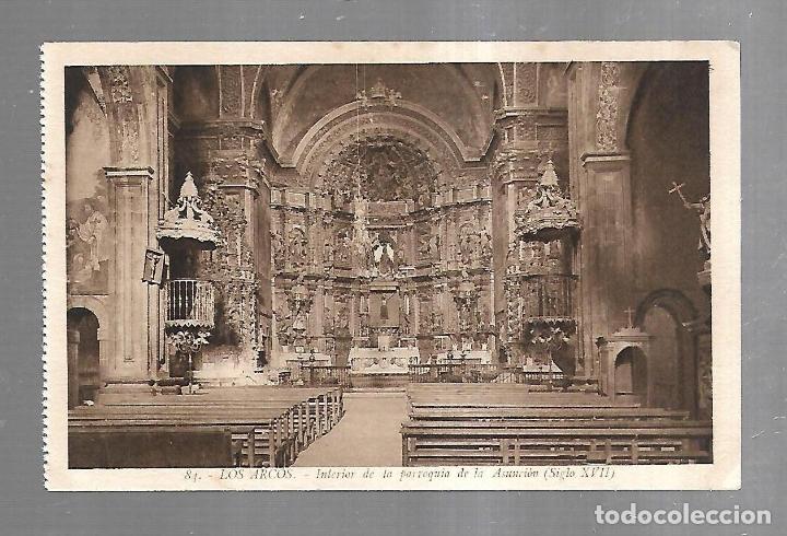TARJETA POSTAL. LOS ARCOS. NAVARRA. INTERIOR DE LA PARROQUIA DE LA ASUNCION. 84. L.ROISIN (Postales - España - Navarra Antigua (hasta 1.939))