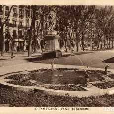 Postales: PAMPLONA, PASEO DE SARASATE. Lote 182735242