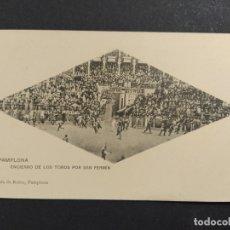 Postales: PAMPLONA-ENCIERRO DE LOS TOROS POR SAN FERMIN-HAUSER Y MENET-POSTAL ANTIGUA-(64.072). Lote 183007308