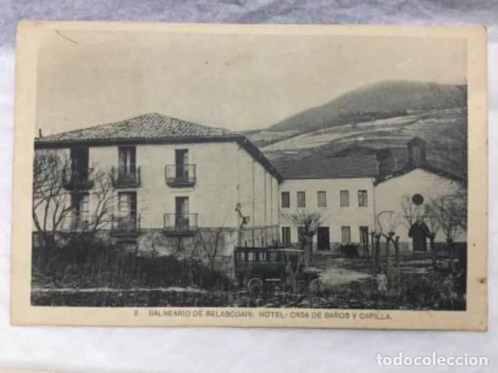 2 BALNEARIO DE BELASCOAIN - HOTEL CASA DE BAÑOS Y CAPILLA - NAVARRA - SIN CIRCULAR (Postales - España - Navarra Antigua (hasta 1.939))
