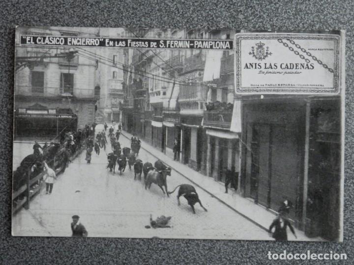 ENCIERRO DE SAN FERMÍN POSTAL PUBLICITARIA DE ANÍS LAS CADENAS ANTIGUA (Postales - España - Navarra Antigua (hasta 1.939))