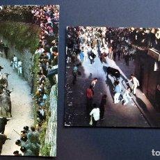 Postales: 2 POSTALES DE LOS ENCIERROS DE PAMPLONA AÑOS 967 Y 1965, VER FOTOS. Lote 205730243