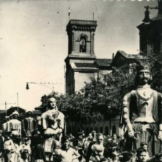 Postales: AMPLONA - IGLESIA DE SAN LORENZO Y TÍPICOS GIGANTES. Lote 206537588