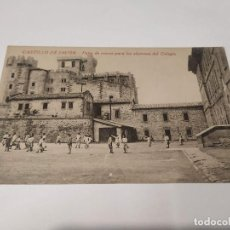 Postales: NAVARRA - POSTAL CASTILLO DE JAVIER - PATIO DE RECREO PARA LOS ALUMNOS DEL COLEGIO. Lote 207204200