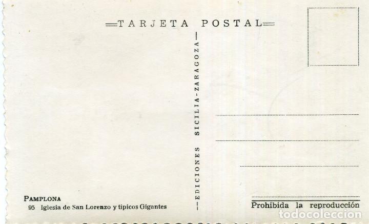 Postales: PAMPLONA - IGLESIA DE SAN LORENZO Y TÍPICOS GIGANTES - Foto 2 - 210267310